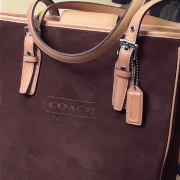 Coach Handbags - Coach Leather Suede Chocolate Brown/Tan Trim